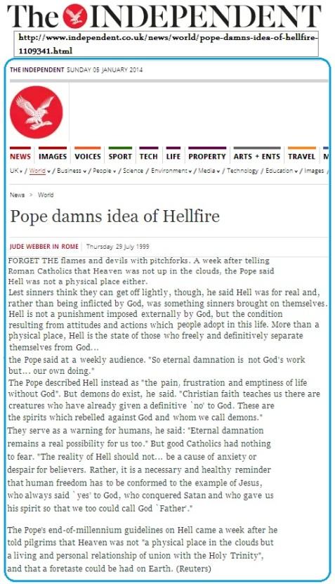 بابا الفاتيكان لا وجود لجهنم وآدم من الأساطير